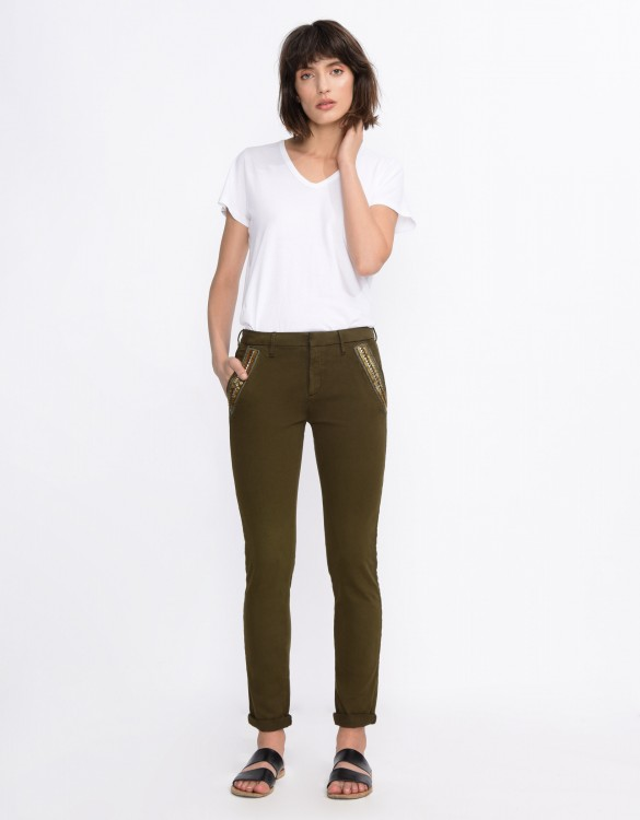Pantalon chino Sandy Ribbon - DARK KAKI