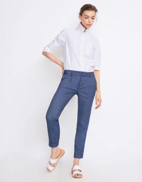 Cigarette Trousers Larson Fancy - DOTS WHITE
