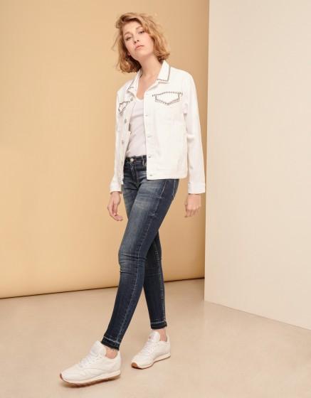 Jean jacket Vahia Studs - WHITE