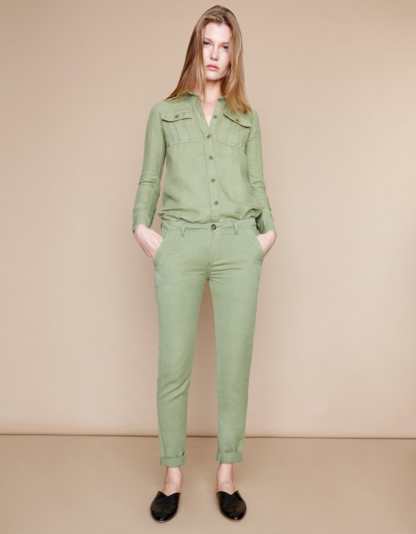 Pantalon chino Pam Linen - MILITARY GREEN