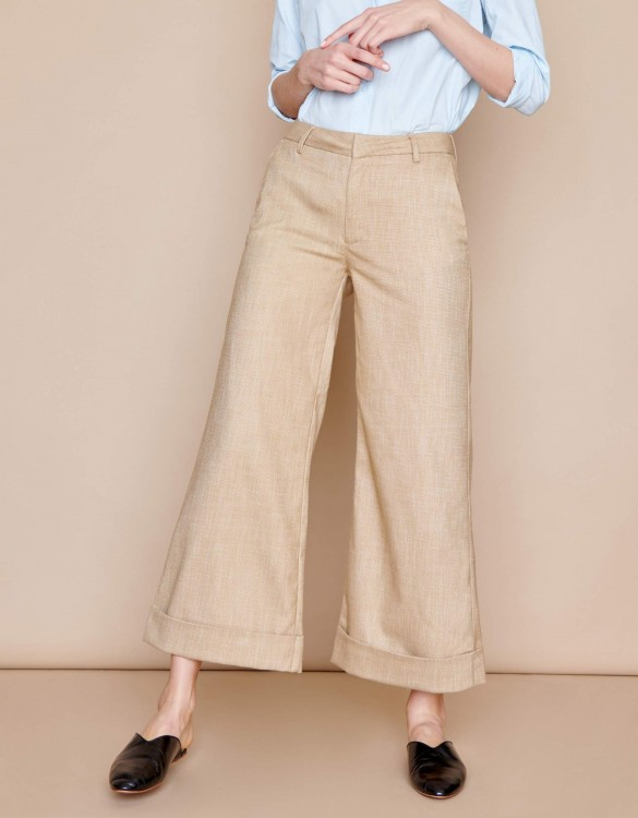 Wide cropped trousers Paolo - VINTAGE OCRE