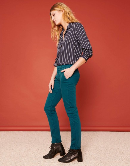 Pantalon chino Sandy 2 Basic - BLEU PETROLE