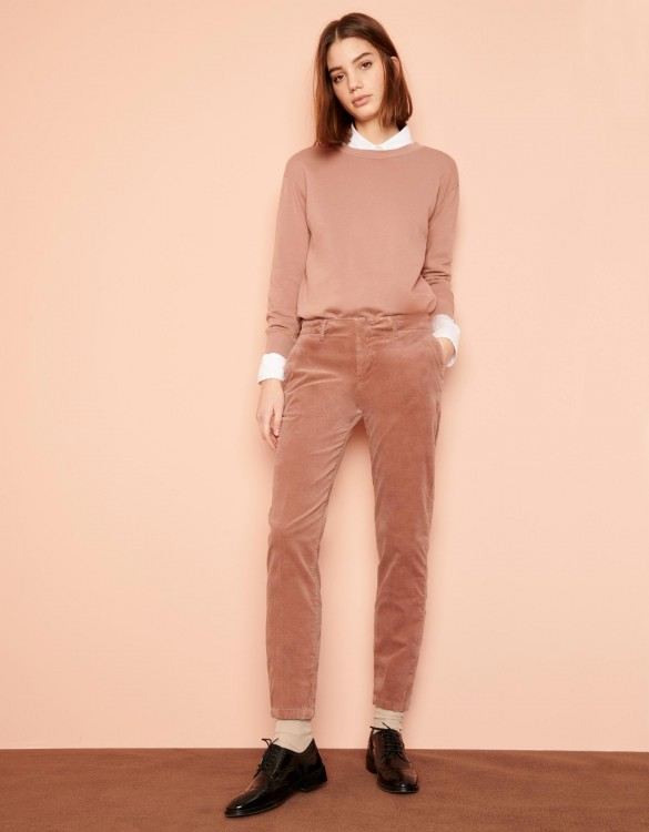 Cigarette Trousers Lizzy Velvet - DUSTY PINK