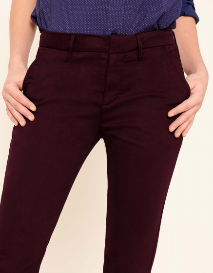 Pantalon chino Sandy 2 Basic - LIE DE VIN
