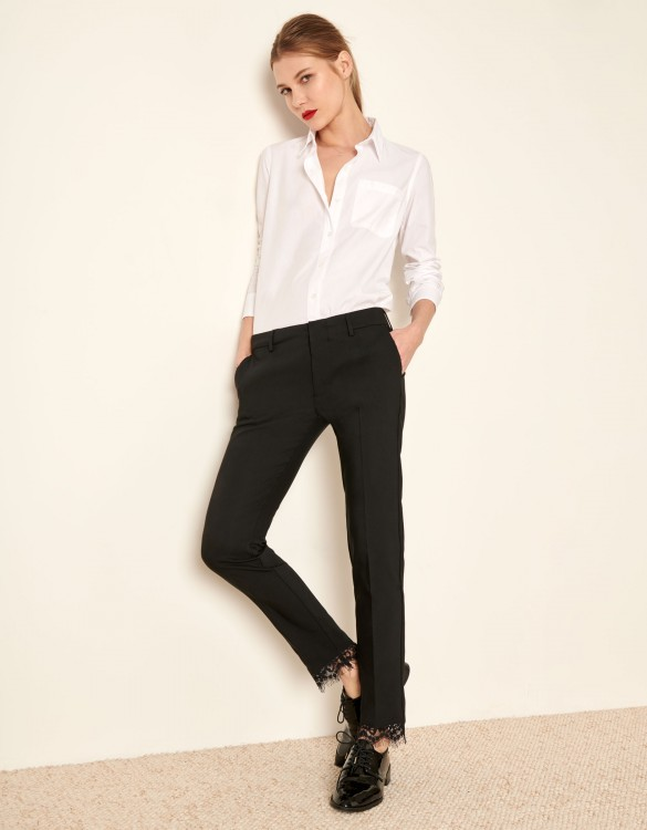 Pantalon cigarette Lizzy Lace - BLACK