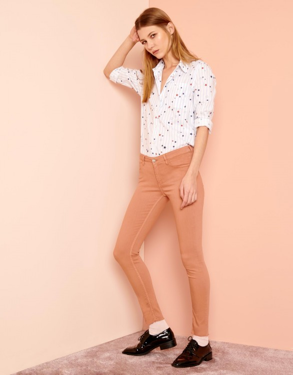 Pantalon skinny cropped Lily Color - SALMON