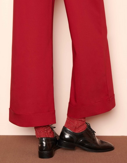 Wide cropped trousers Paolo Color - CHILI PEPPER