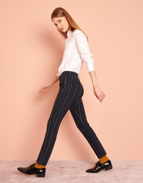 Cigarette Trousers Lizzy Fancy - NAVY STRIPED