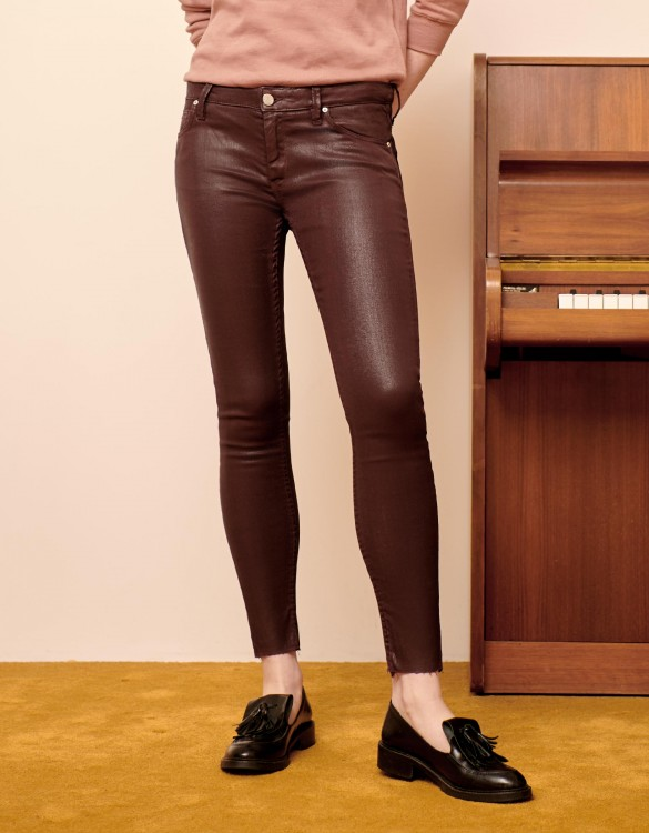 Skinny cropped trousers Lily Enduction - LIE DE VIN