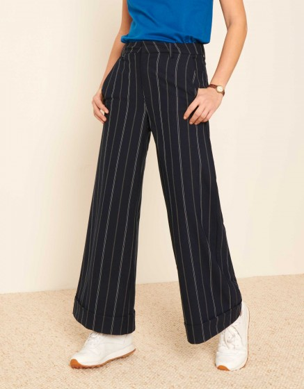 Wide cropped trousers Paolo Fancy - NAVY STRIPED