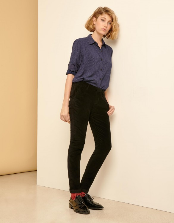 Pantalon chino Sandy Velvet - BLACK