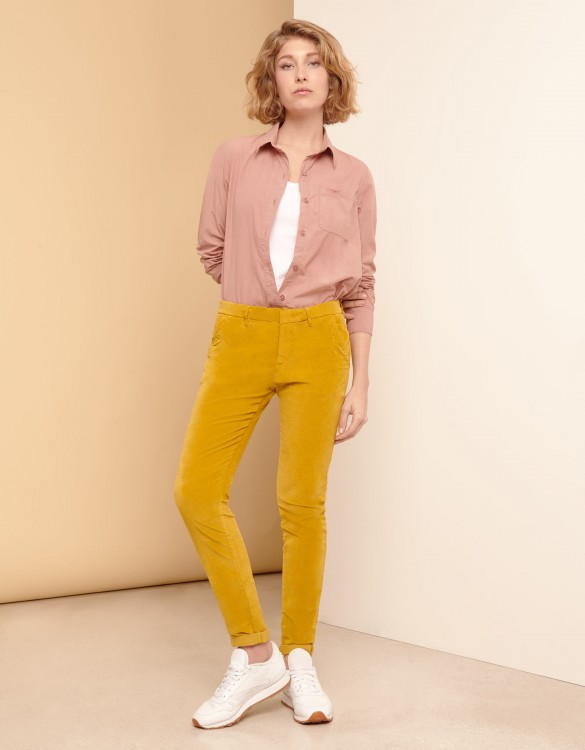 Pantalon chino Sandy Velvet - DARK HONEY