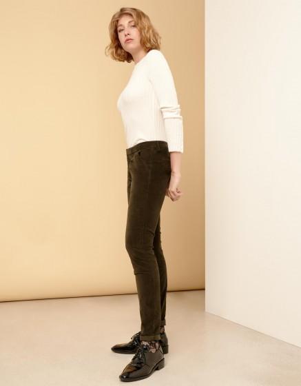 Pantalon chino Sandy Velvet - DARK KAKI