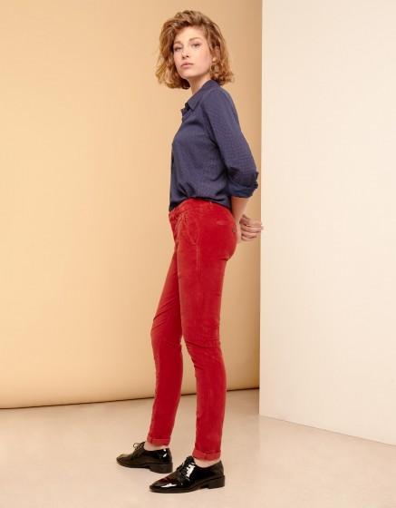 Chino Trousers Sandy Velvet - BURNT RED