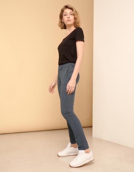 Cigarette Trousers Lizzy Fancy - NAVY FLOW