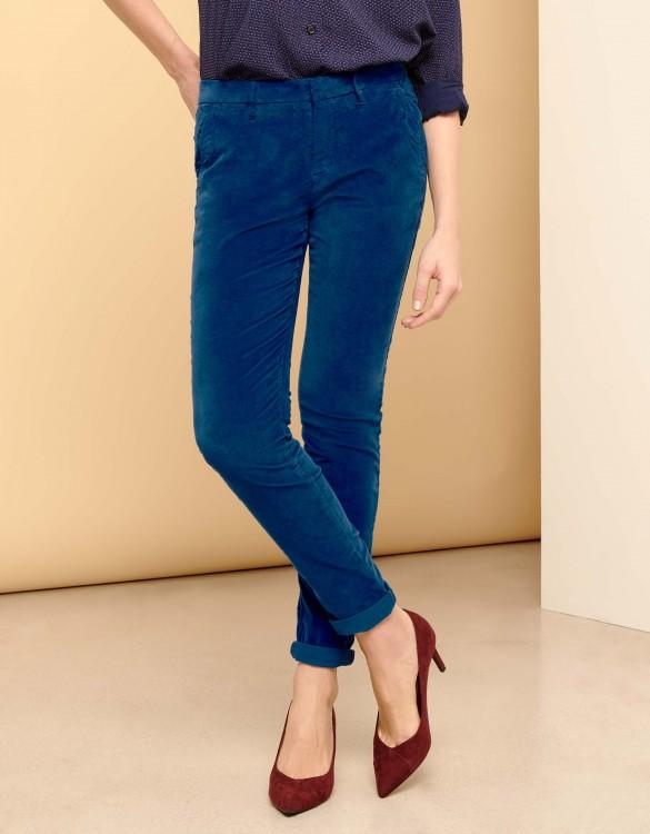 Pantalon chino Sandy Velvet - VICTORIAN BLUE