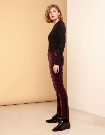 Cigarette Trousers Lizzy Velvet - HERRING LIE DE VIN