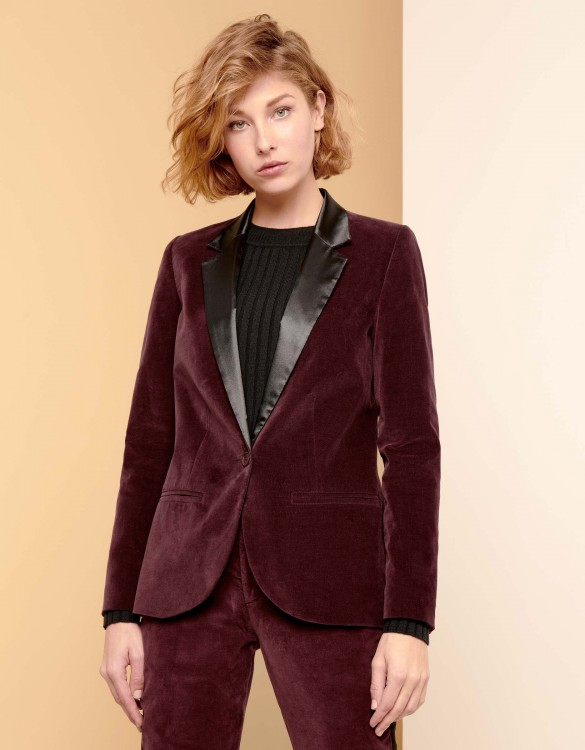 Blazer Blair Velvet - LIE DE VIN/BLACK