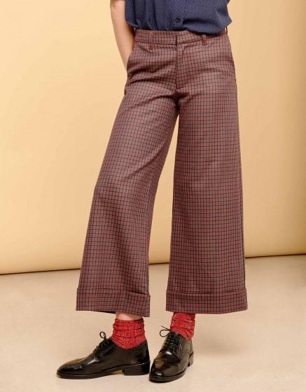 Pantalon wide cropped Paolo - RED PLAID