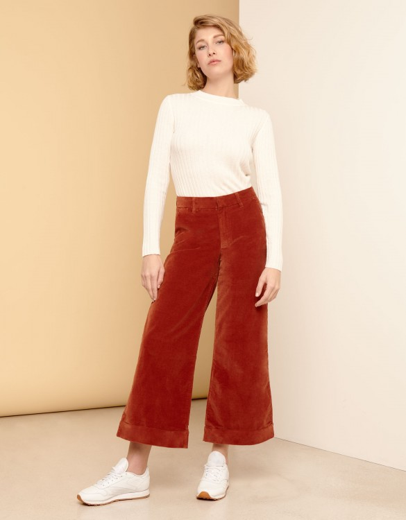 Pantalon wide cropped Paolo Velvet - BRIQUE