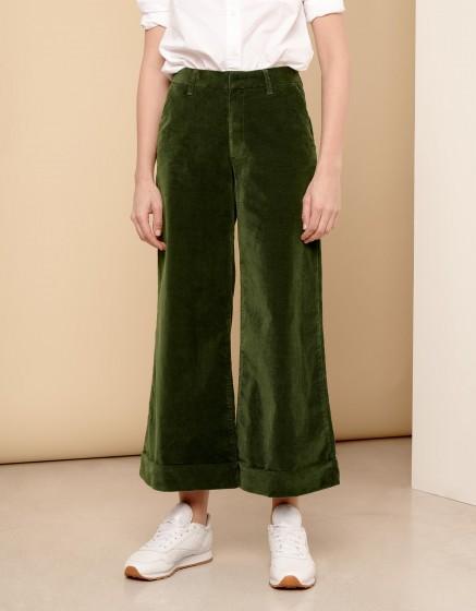 Pantalon wide cropped Paolo Velvet - VERT FEUILLE