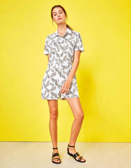 Denim jumpsuit Chester Printed - LEAVES