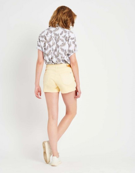 Colored Denim short Servane Vintage - VANILLE