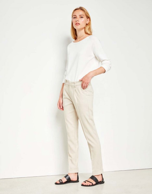 Cigarette Trousers Larson Fancy - CREAM TARTAN