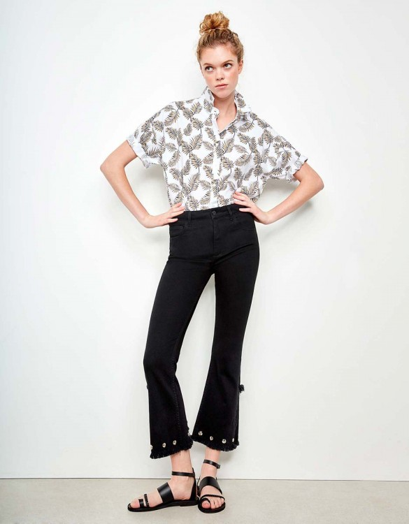 Jean straight cropped Lilian Studs - DNM BLACK