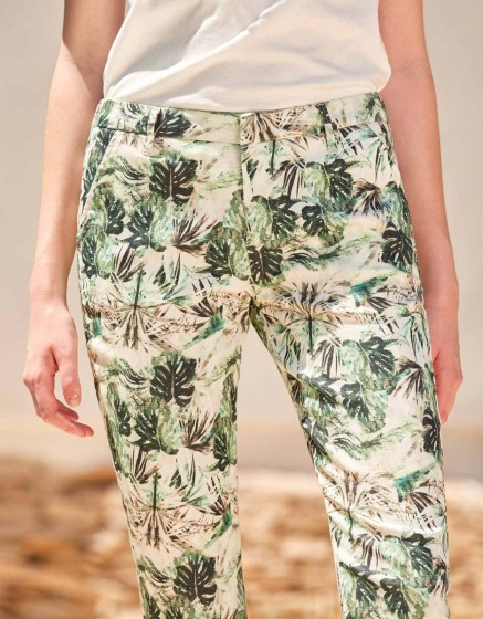 Pantalon chino Sandy Skinny Printed - PALM GREEN