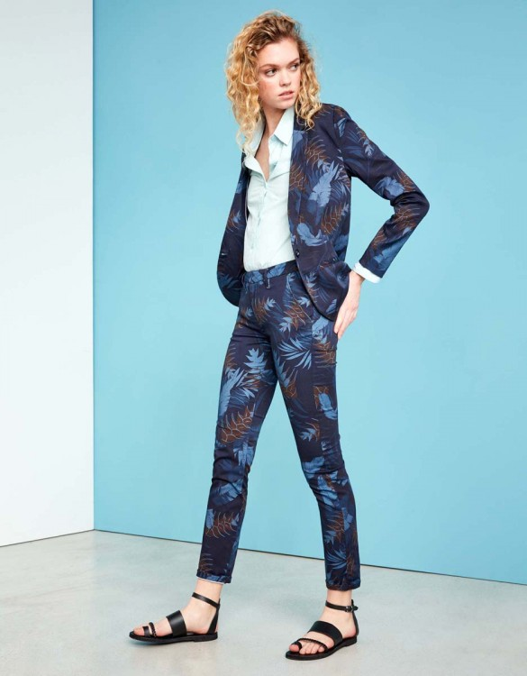Chino Trousers Sandy Skinny Printed - NAVY TROPIC