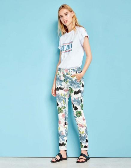 Chino Trousers Sandy Printed - DAHLIA
