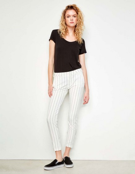 Cigarette Trousers Lizzy Fancy - WHITE STRIPED