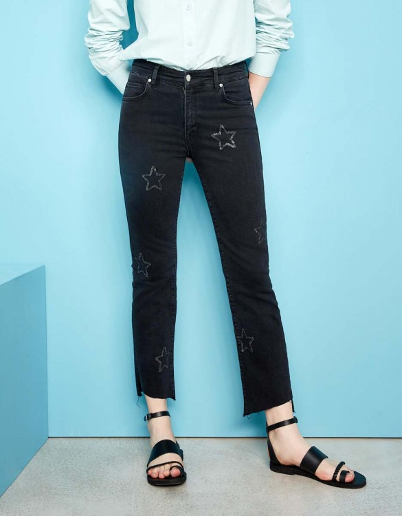 Straight cropped jean Lottie Stars - DNM BLACK