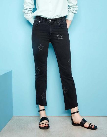 Jean straight cropped Lottie Stars - DNM BLACK