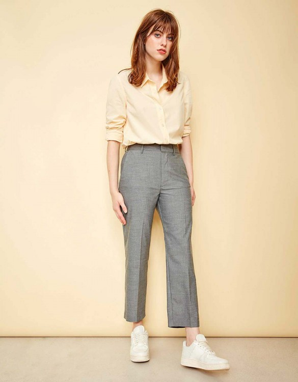 Pantalon straight cropped Luis Fancy - GREY