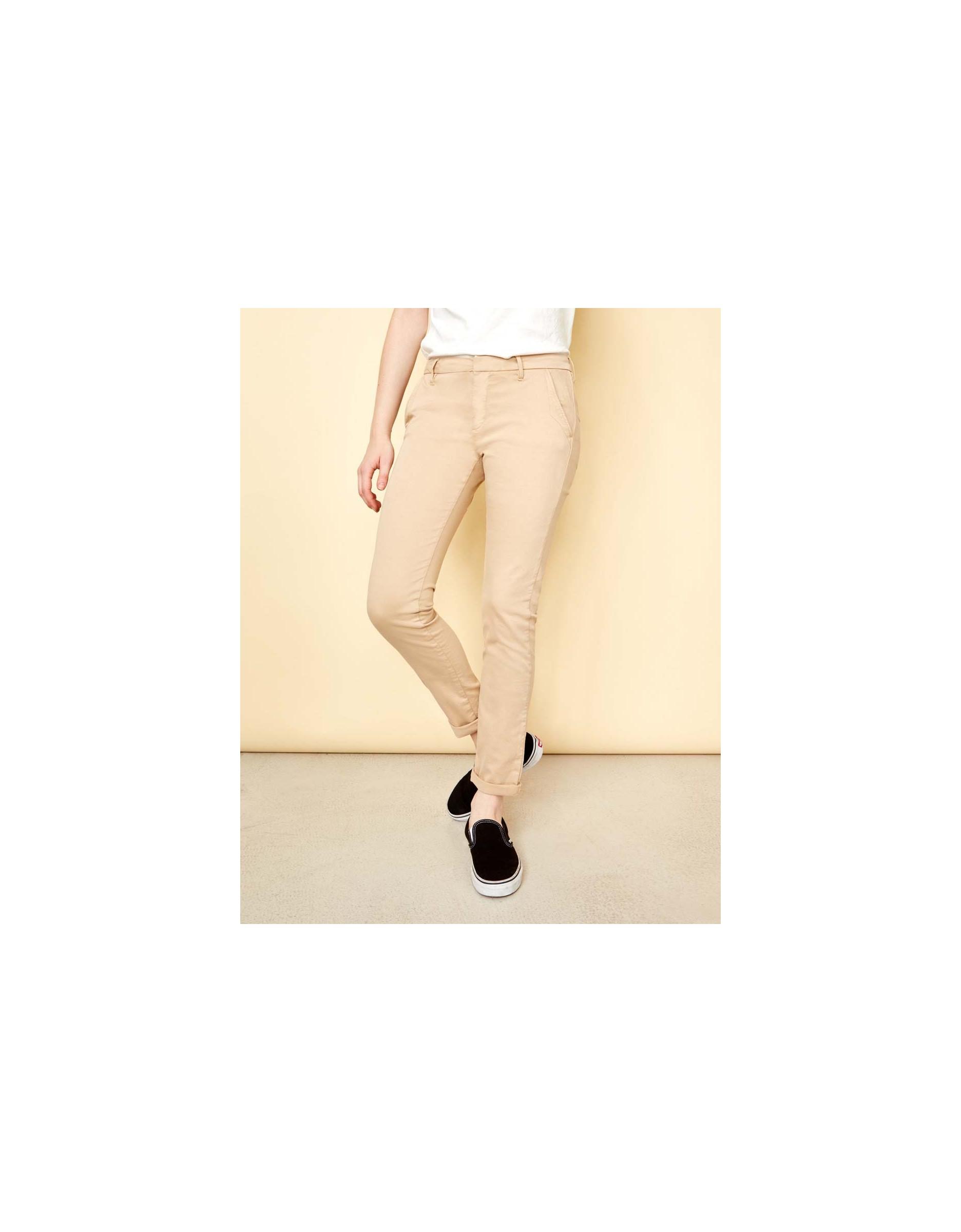 Reiko Chino Beige Pantalon Pour Femme Sandy Basic – IE29WeDHY