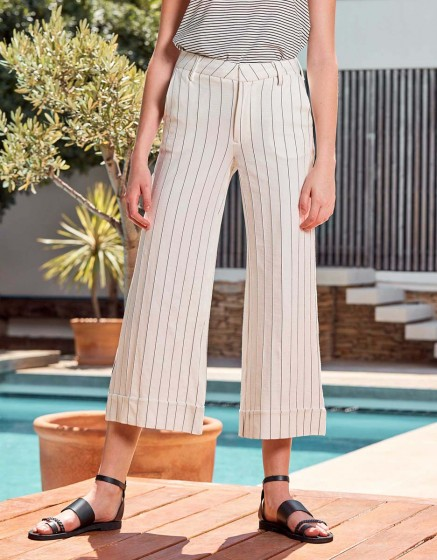 Wide cropped Trousers Paolo Fancy - WHITE STRIPED