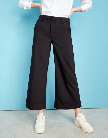 Wide cropped trousers Paolo Color - BLACK
