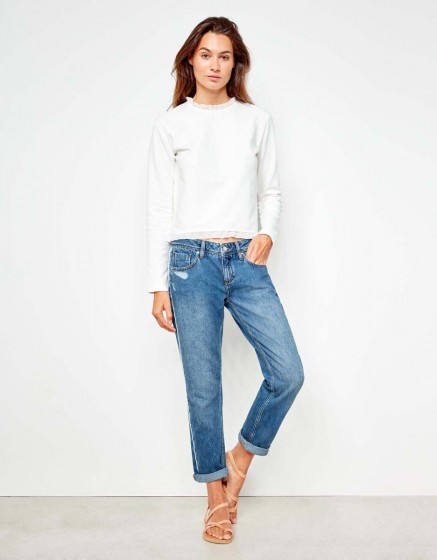 Jean boyfriend Nina Piping - WHITE DNM B-27