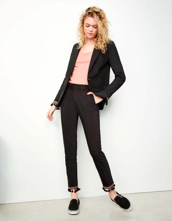 Pantalon cigarette Lizzy Boho - BLACK