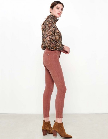 Skinny cropped trousers Lily Velvet - ROSE ANTIQUE