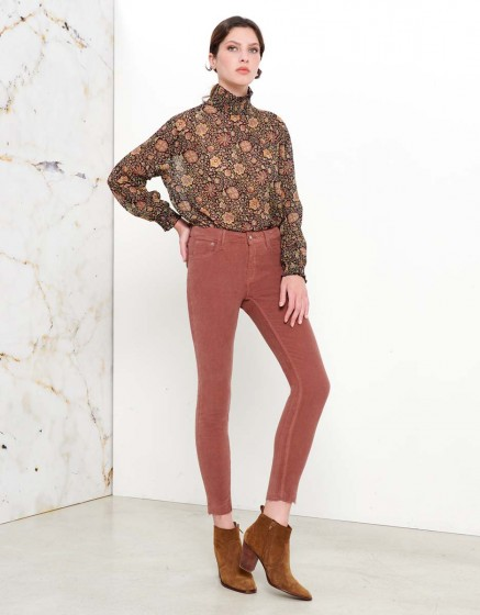 Pantalon Skinny cropped Lily Velvet - ROSE ANTIQUE