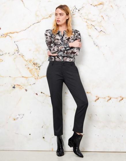 Cigarette Trousers Lizzy Fancy Ribbon - BLACK STONE