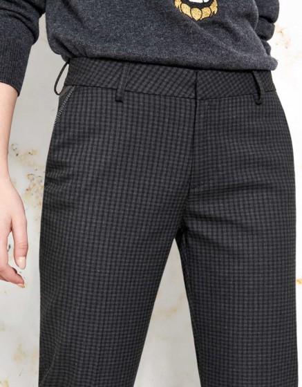 Cigarette Trousers Lizzy Fancy Ribbon - GREY CHECK