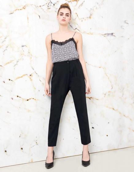 Pantalon Loose cigarette Luna color - BLACK