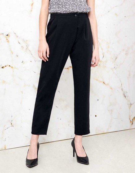 Loose Cigarette Trousers Luna color - BLACK