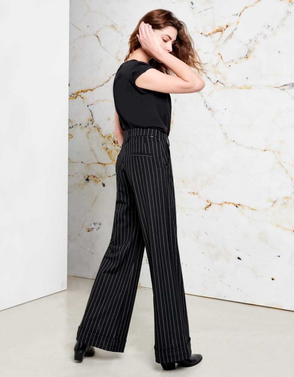 Wide trousers Pamelo Fancy - INK BLACK STRIPED