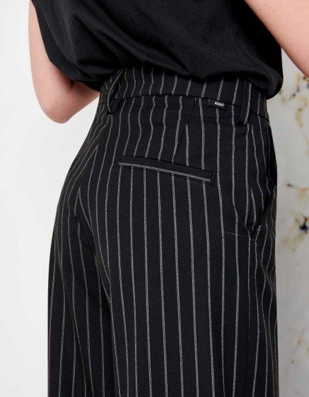 Wide trousers Pamelo Fancy - INK BLACK STRIPED
