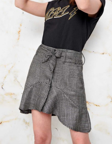 Skirt Jessi Fancy - SILVER HOUNDSTOOTH